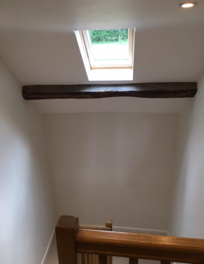 Interior painting & decorating to hallway and original beams