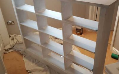 Bespoke bookcase in upstairs hallway