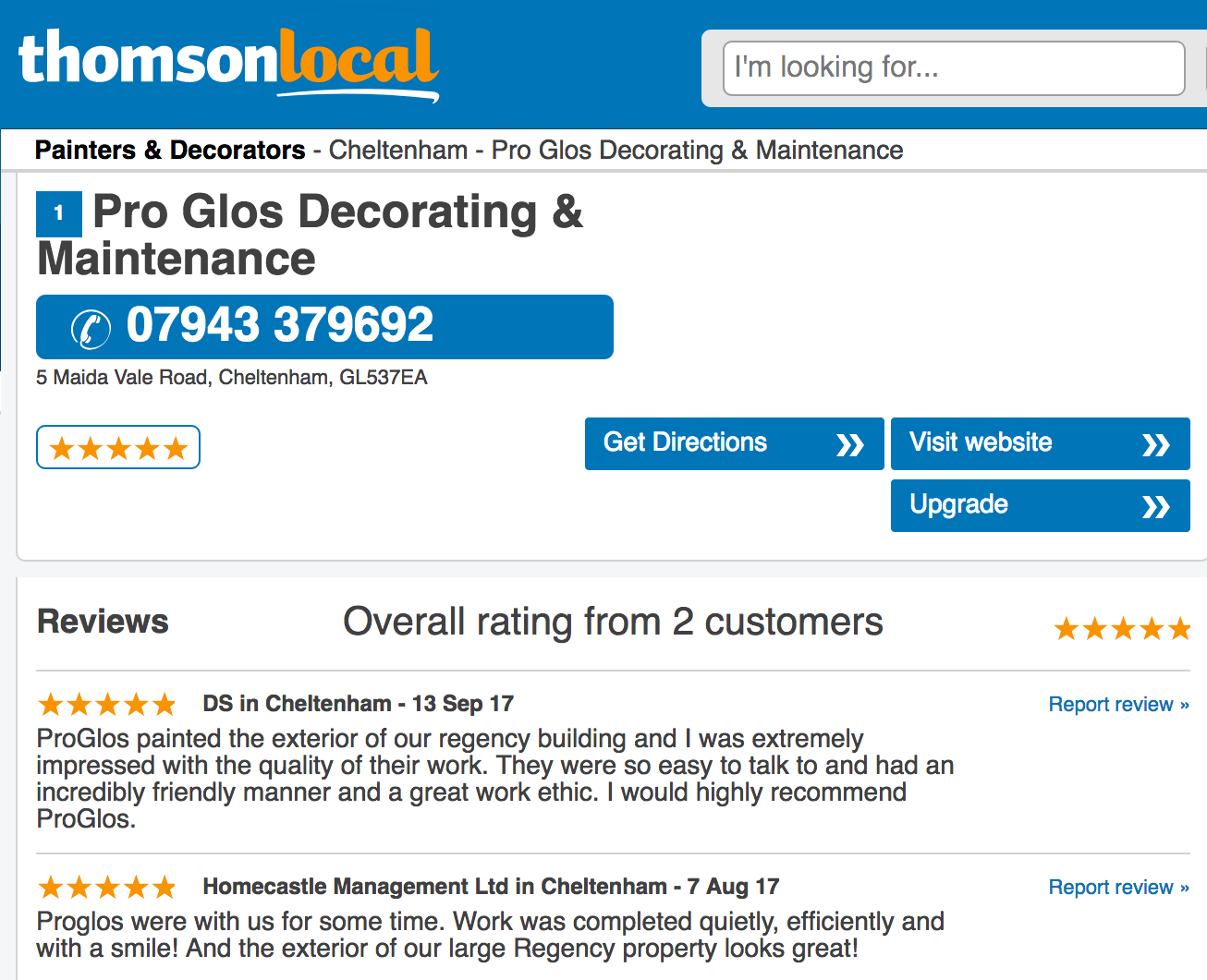 Customer reviews - ProGlos Painting & Decorating reviews from Thomson Local